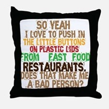 Fast Food Buttons Throw Pillow