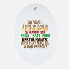 Fast Food Buttons Ornament (Oval)