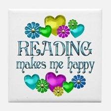 Reading Happiness Tile Coaster