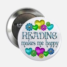 """Reading Happiness 2.25"""" Button"""