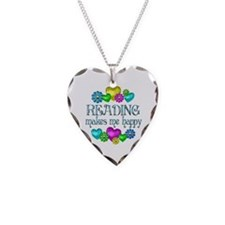 Reading Happiness Necklace Heart Charm