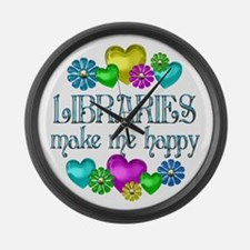 Library Happiness Large Wall Clock