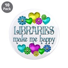 """Library Happiness 3.5"""" Button (10 pack)"""