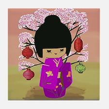 Cute kawaii pink dress kokeshi Tile Coaster