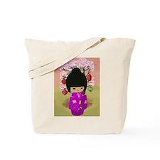 Cute kawaii pink dress kokeshi Tote Bag