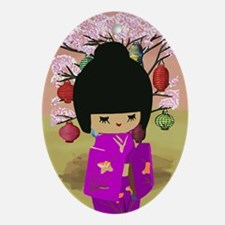 Cute kawaii pink dress kokeshi Ornament (Oval)