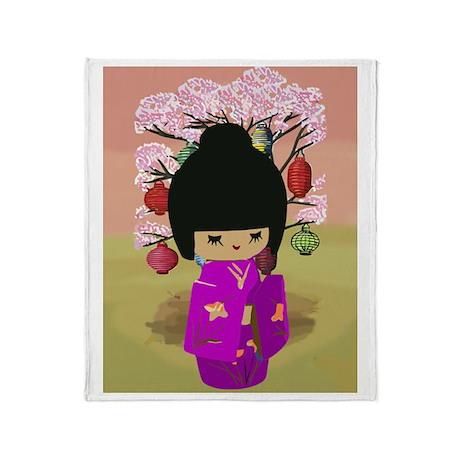 Cute kawaii pink dress kokeshi Throw Blanket