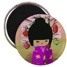 "Cute kawaii pink dress kokeshi 2.25"" Magnet (10 pa"