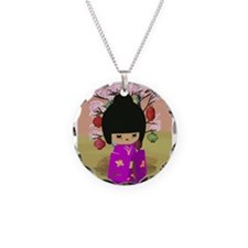 Cute kawaii pink dress kokeshi Necklace