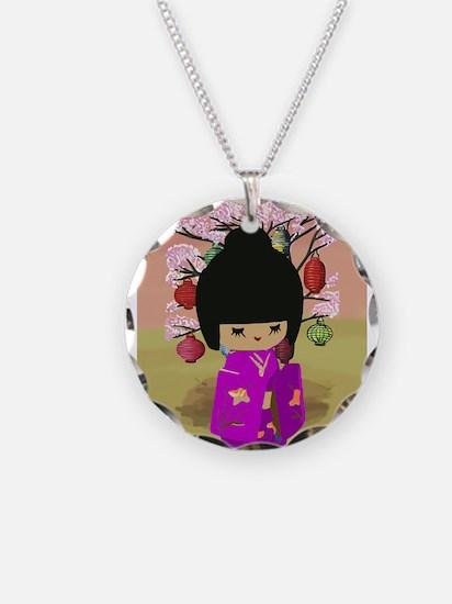 Cute kawaii pink dress kokeshi Necklace