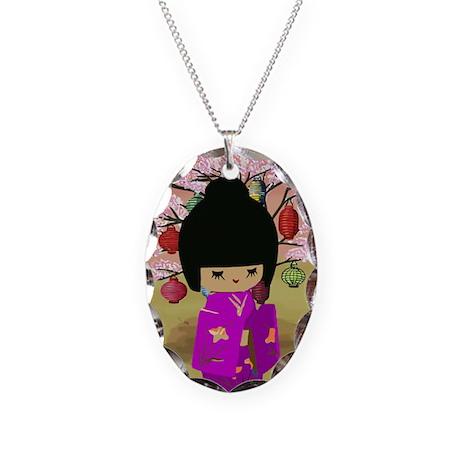 Cute kawaii pink dress kokeshi Necklace Oval Charm