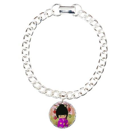 Cute kawaii pink dress kokeshi Charm Bracelet, One