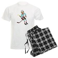 Sock Monkey Ice Hockey Pajamas