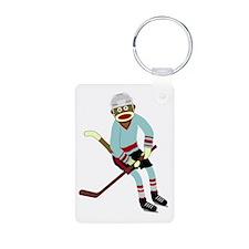 Sock Monkey Ice Hockey Keychains