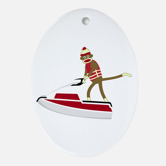 Sock Monkey Jet Ski Ornament (Oval)