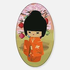 cute kawai kokeshi doll Decal