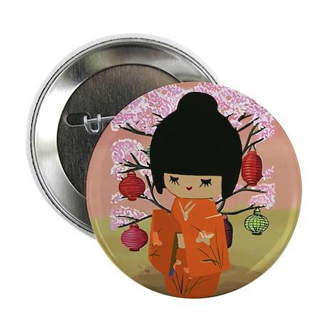 "cute kawai kokeshi doll 2.25"" Button (10 pack)"