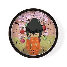 cute kawai kokeshi doll Wall Clock