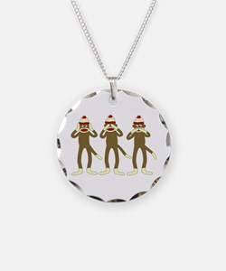 No Evil Sock Monkeys Necklace