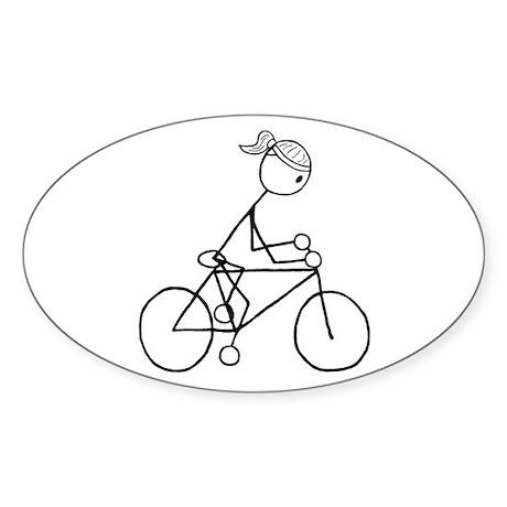 Biking Girl-Black Sticker (Oval)