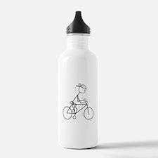 Biking Girl-Black Water Bottle