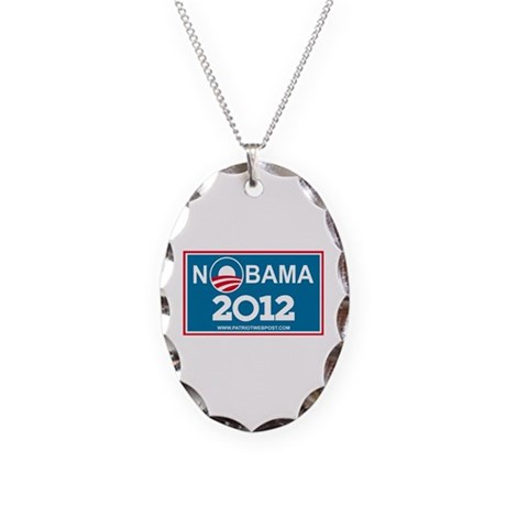 NoBama 2012 No Hope Necklace Oval Charm