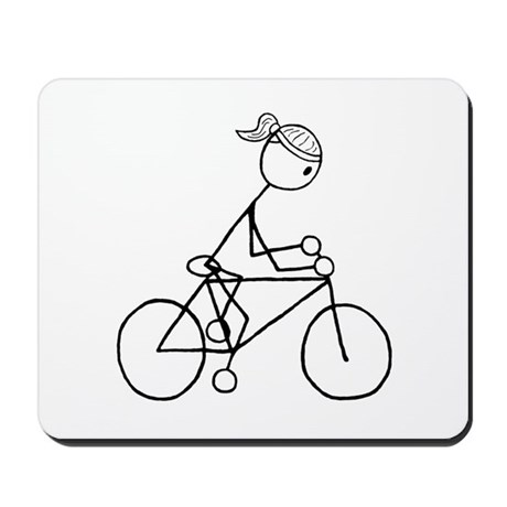 Biking Girl-Black Mousepad