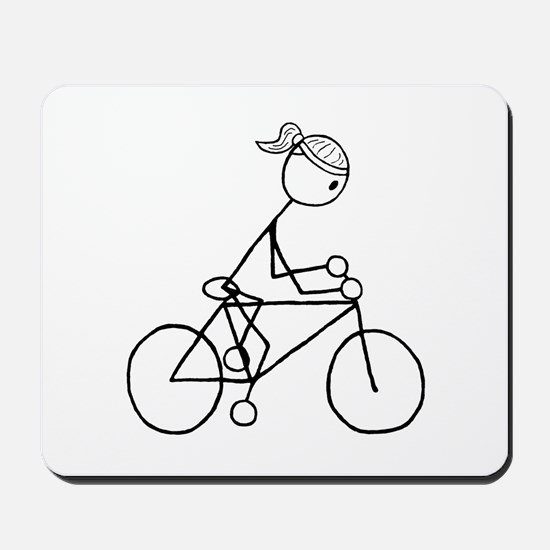 Biking Girl-Black Mousepad