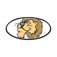 Silly Grinning Lion Head Patches