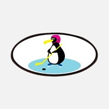 Cute Hockey Playing Penguin Patches