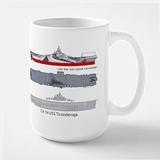 USS Ticonderog CV-14 Large Mug