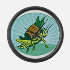 Grasshopper carrying basket Large Wall Clock