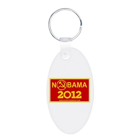 NoBama 2012 Commie Logo Aluminum Oval Keychain