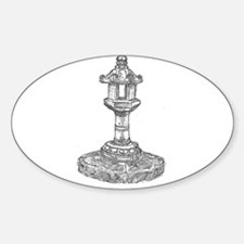 drawing of shinto incense burner Oval Decal