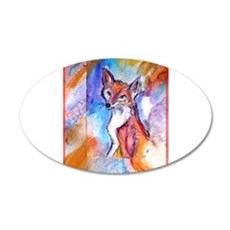 Fox, colorful, 22x14 Oval Wall Peel