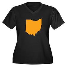 Orange Ohio Women's Plus Size V-Neck Dark T-Shirt