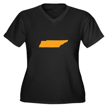 Orange Tennessee Women's Plus Size V-Neck Dark T-S