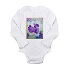 Purple Pansy, colorful, art, Long Sleeve Infant Bo