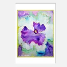 Purple Pansy, colorful, art, Postcards (Package of