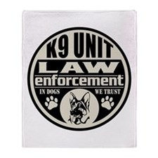 K9 In Dogs We Trust Black Throw Blanket