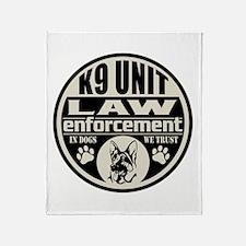 K9 In Dogs We Trust Black Throw Blanket