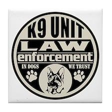 K9 In Dogs We Trust Black Tile Coaster