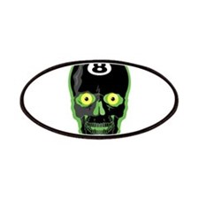 Green Eight Ball Skull Patches