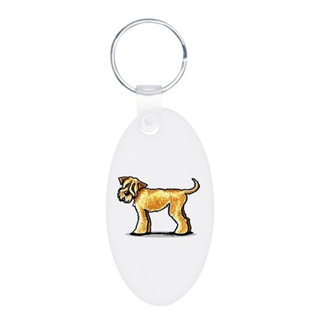 Soft Coated Wheaten Terrier Aluminum Oval Keychain