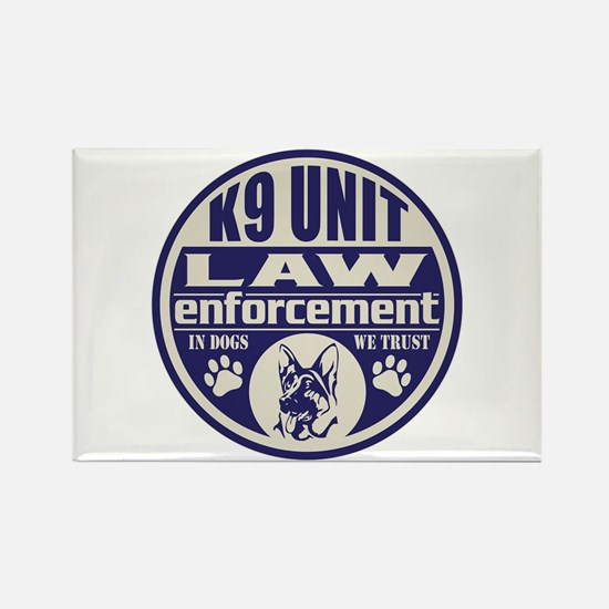 K9 In Dogs We Trust Blue Rectangle Magnet