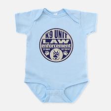 K9 In Dogs We Trust Blue Infant Bodysuit