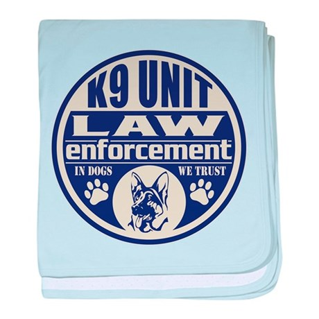 K9 In Dogs We Trust Blue baby blanket