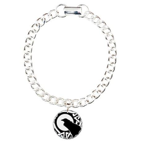 Celtic Raven Moon Charm Bracelet, One Charm