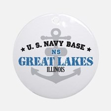 US Navy Great Lakes Base Ornament (Round)