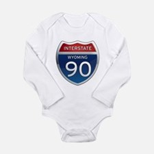 Interstate 90 - Wyoming Long Sleeve Infant Bodysui